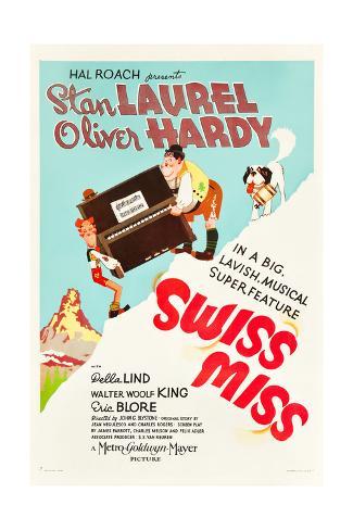 Swiss Miss, Stan Laurel, Oliver Hardy on US poster art, 1938 Premium Giclee Print