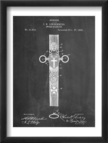 Sword Scabbard Patent Framed Art Print