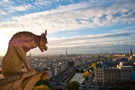Notre Dame: Gargoyle Overlooking Paris Photographic Print