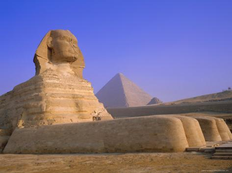 The Sphinx and Pyramid of Cheops at Sunrise, Giza, Cairo, Egypt Photographic Print