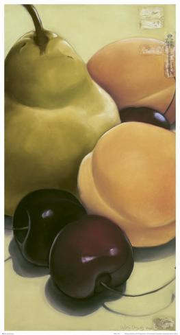 Pear, Apricots and Cherries Art Print