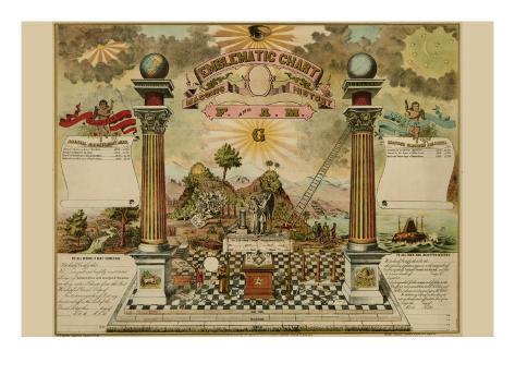 Symbols - Emblematic Chart and Masonic History of Free and Accepted Masons Art Print