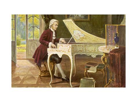 Wolfgang Amadeus Mozart the Austrian Composer Playing an Ornate Harpsichord Giclee Print