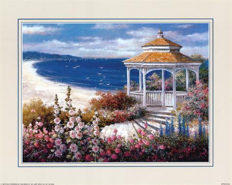 Gazebo on Beach Art Print