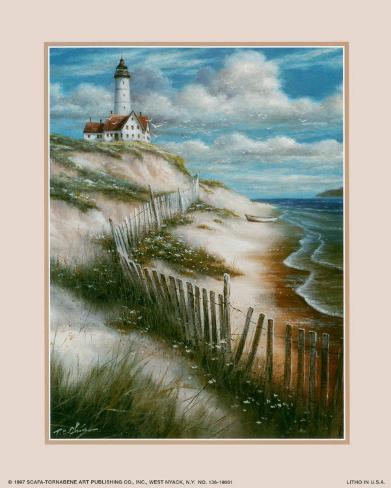 Lighthouse with Deserted Beach Art Print