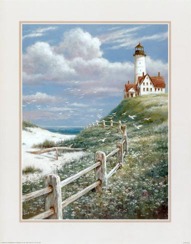 Lighthouse with Fence Art Print