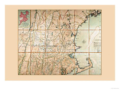 Map of the Most Inhabited Part of New England Premium Giclee Print