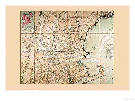 Map of the Most Inhabited Part of New England Art Print