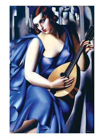 Femme en Bleu Avec Guitare Premium Giclee Print