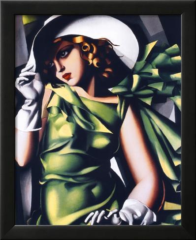 Mujer vestida en verde Lámina enmarcada con plástico protector