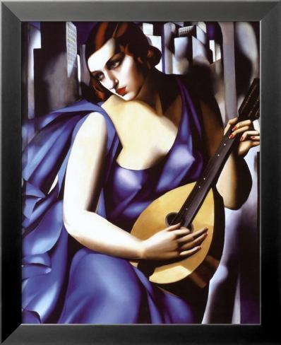 Señora de azul con guitarra Lámina enmarcada con plástico protector