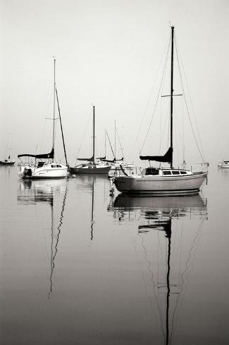 Red Sailboat I - BW Photographic Print