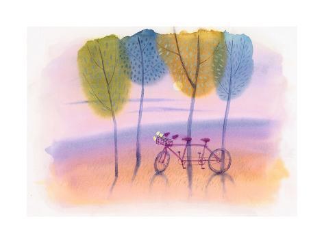 Tandem Bike in Trees Stampa artistica