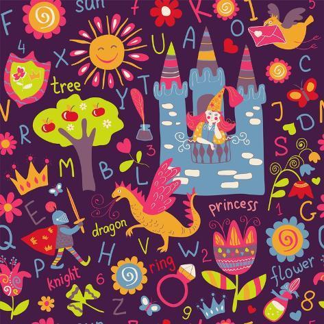 Child Seamless Pattern Art Print