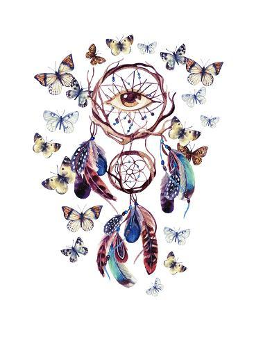 Watercolor Dream Catcher With All Seeing Eye Prints By Tanycya Awesome Water Color Dream Catcher