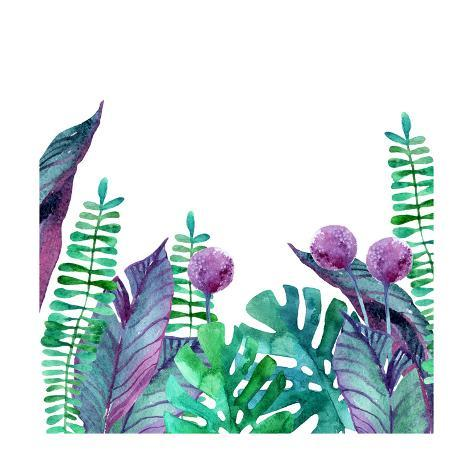 watercolor tropical leaves background prints by tanycya at