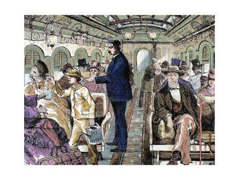 Old Railroad Car. inside View with Passengers. United States. Giclée-vedos