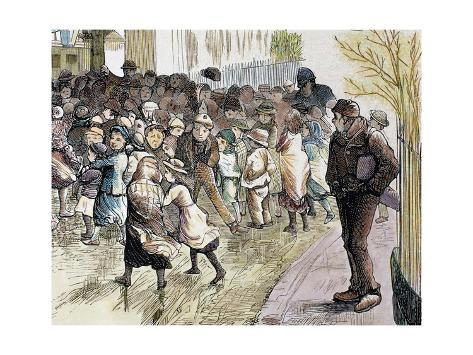 Poverty in Sheffield. Needy Kids Going to the Distribution of Food in Vestryhall. Colored Engraving Giclée-vedos