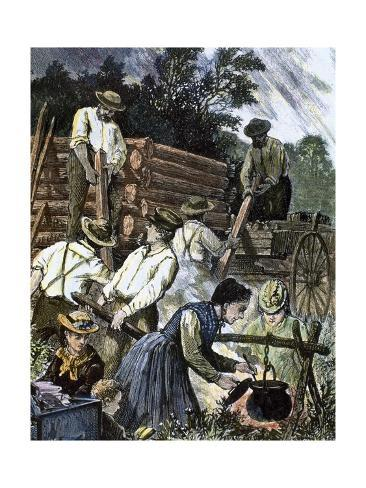 Usa. Settlers Building their Homes in the West (1874). Giclée-vedos