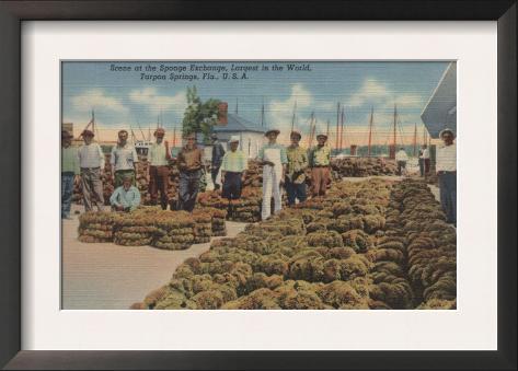 Tarpon Springs, FL - Scene of Sponge Exchange Framed Art Print
