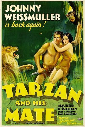 TARZAN AND HIS MATE, Johnny Weissmuller, Maureen O'Sullivan, 1934 Art Print