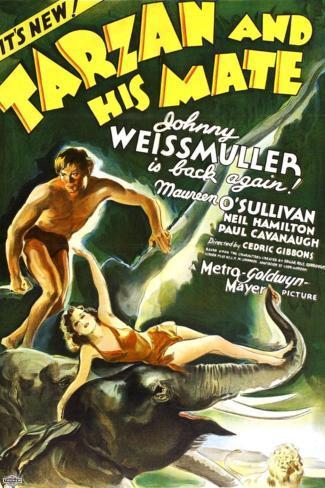 Tarzan and His Mate, Johnny Weissmuller, Maureen O'Sullivan, 1934 Premium Giclee Print