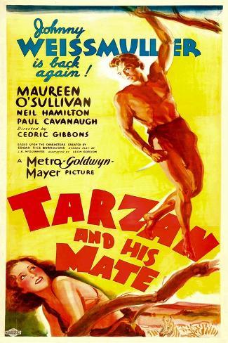 TARZAN AND HIS MATE, top: Johnny Weissmuller, bottom: Maureen O'Sullivan, 1934. Konstprint