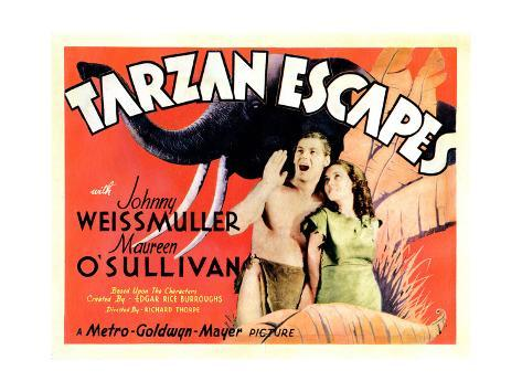 Tarzan Escapes, from Left: Johnny Weissmuller, Maureen O'Sullivan, 1936 Giclee Print
