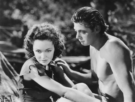 Tarzan Escapes, from Left: Maureen O'Sullivan, Johnny Weissmuller, 1936 Photo