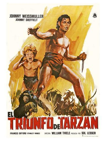 Tarzan Triumphs, Spanish Movie Poster, 1943 Art Print