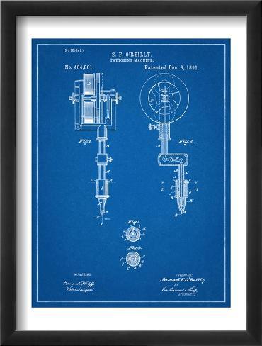 Tattoing Machine Patent 1891 Framed Art Print
