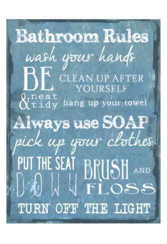 Bathroom Rules bathroom rules blue postertaylor greene at allposters