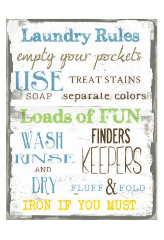 Laundry Rules Art Print