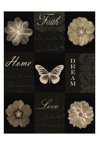 Sepia Floral 9 Patch Art Print