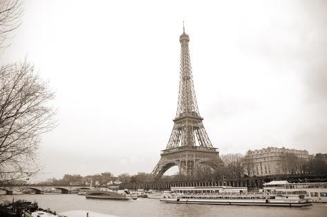 Eiffel Tower and Seine River in Paris Photographic Print