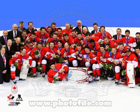 Team Canada celebrates winning the Gold Medal  2014 Winter Olympics Photo