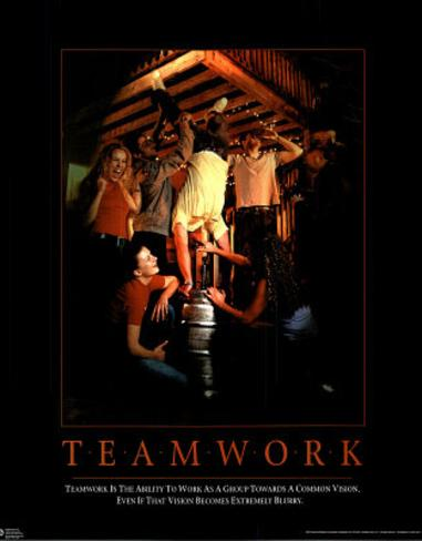 Teamwork Kegstand Motivational Parody College Art Print Poster Poster