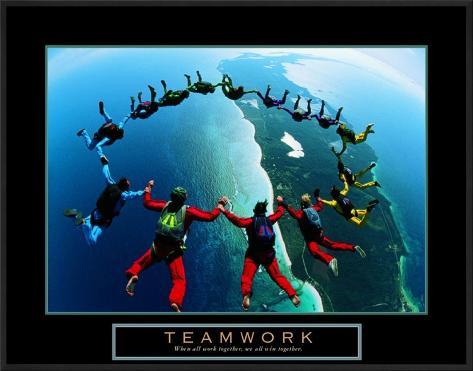 Teamwork: Skydivers II Framed Art Print