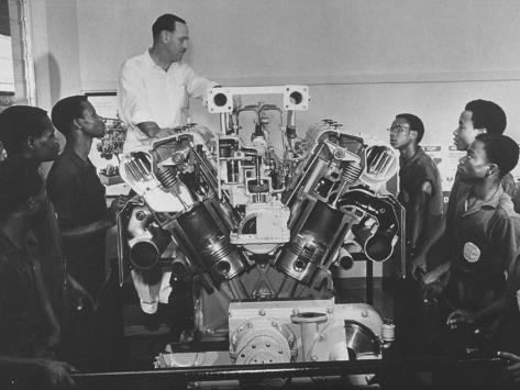 Technician Explains Diesel Engine to Students at Shell-British Petroleum Trade School Photographic Print