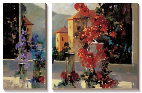 Lake Como View Canvas Art Set