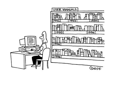 Behind a woman working at a computer is a bookshelf full of manuals; each … - Cartoon Premium Giclee Print
