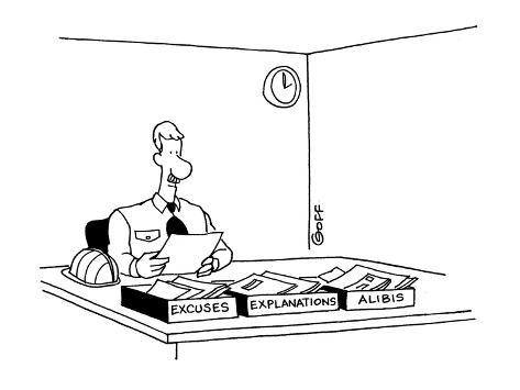 Worker with three boxes on desk; Excuses, Explanations, Alibis. - Cartoon Premium Giclee Print