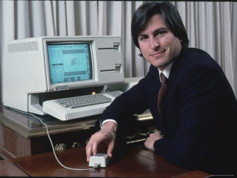 Apple Computer Chairman Steve Jobs with New Lisa Computer During Press Preview Premium Photographic Print