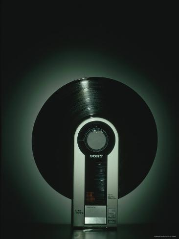 Vertical Flamingo Record Player Made by Sony Photographic Print