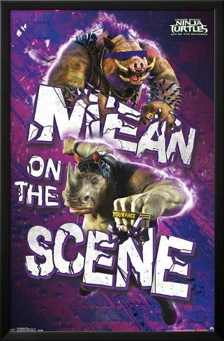 Teenage Mutant Ninja Turtles 2- Bebop & Rocksteady LAMINAフレーム入りポスター