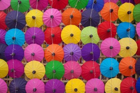 Colorful Handmade Umbrella's Bo Sang Village at Chiangmai Province,Thailand. Photographic Print