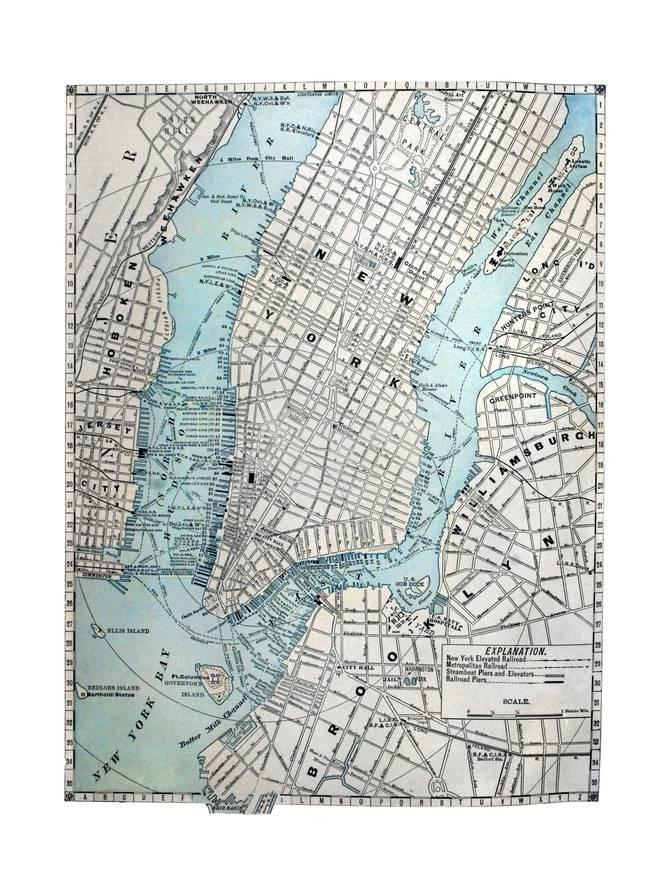 Street Map Of New York.Old Street Map Of New York City Posters By Tektite At Allposters Com