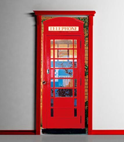 Telephone box door wallpaper mural bildtapet p for Door wallpaper mural