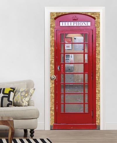 Telephone box door wallpaper mural tapettijuliste for Door mural wallpaper