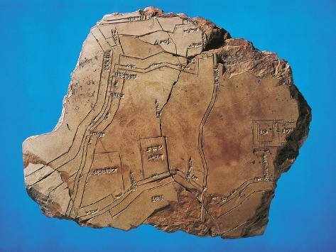Terracotta Fragment with Map of City of Nippur, from Tell Telloh, Iraq Giclee Print